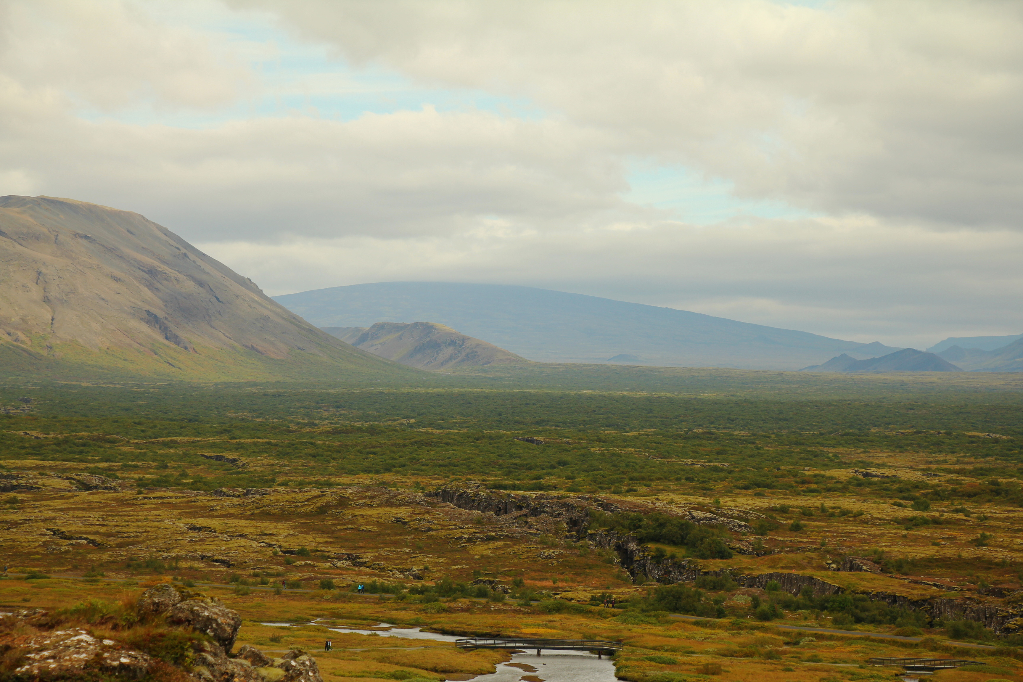 Looking out over the mid-Atlantic Ridge towards the European plate at Þingvellir, Iceland. Photo by author.