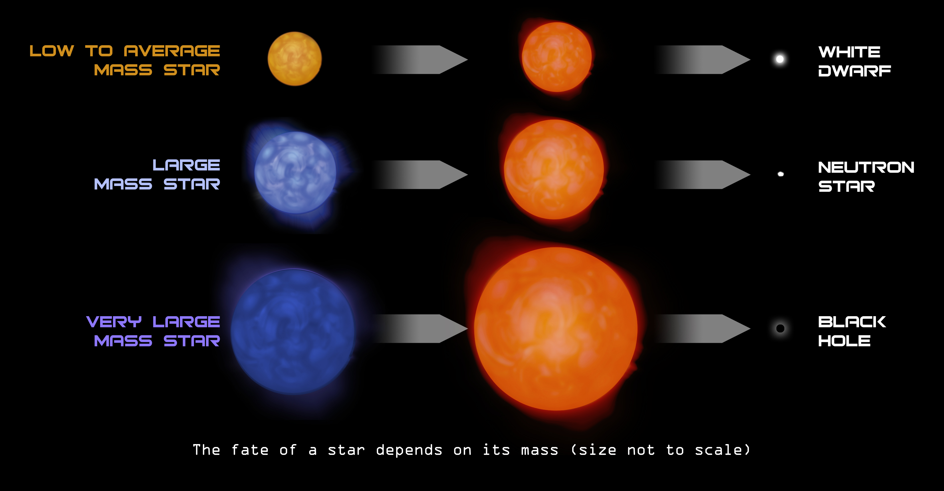 The fate of a star depends on its mass, from Chandra X-ray Observatory, via NASA/CXC/SAO.